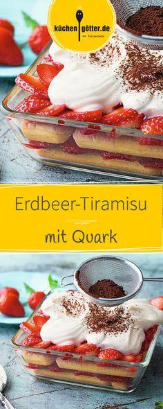 Unser fruchtiges Erdbeer-Tiramisu ist mit Quark verfeinert, eine perfekte Nachspeise an warmen Tagen und das beliebteste Mitbringsel auf Partys!