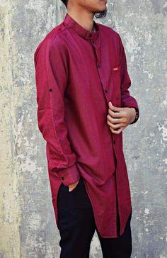 BAJU KOKO MODERN ADAMS CLOTHES RED THIGH BAJU MUSLIM PRIA ELEGANT WARNA MERAH LENGAN PANJANG