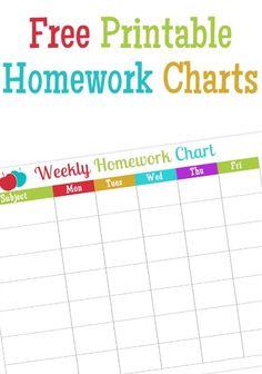 Free Printable Homework Charts