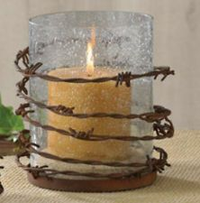 """Western Barbed Wire Rustic Pillar Glass Candle Holder 5 1/2"""" dia Home Decor"""
