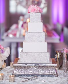 White and Silver wedding cake | Carla Gates Photography | http://www.theknot.com/weddings/album/144351
