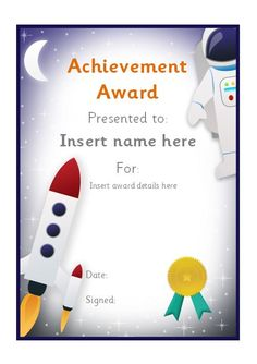 Astronaut themed editable certificate. #teachingresources by Early Learning HQ www.pinterest.com/earlylearninghq/