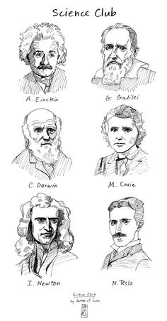 SCIENCE CLUB T-Shirt ft. Albert Einstein, Galileo Galilei, Charles Darwin, Marie…