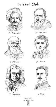 SCIENCE CLUB T-Shirt ft. Albert Einstein, Galileo Galilei, Charles Darwin, Marie…
