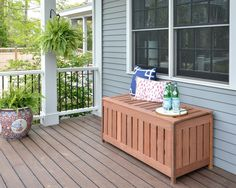 FREE plans for making a DIY outdoor storage box for outdoor cushions! Plus, it d… FREE plans for making a DIY outdoor storage box for outdoor cushions! Plus, it doubles as an outdoor bench seat and serving surface. Patio Cushion Storage, Porch Storage, Diy Storage Bench, Patio Cushions, Outdoor Storage, Storage Ideas, Deck Storage Box, Storage Solutions, Seat Cushions