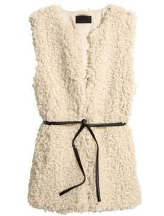 Beige Sleeveless Belt Faux Fur Vest S.Kr.213.14