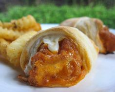 Buffalo Chicken Crescents...you can use rotisserie chicken instead of crispy, and cream cheese instead of provolone!