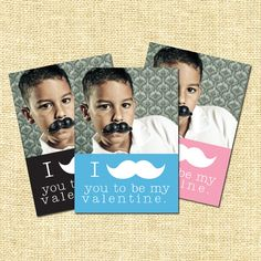 Come close, closer, closer. I mustache you to be my valentine. (Printable Valentine by BitsyCreations)