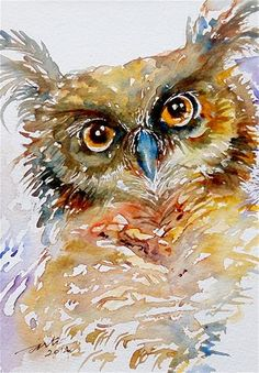 """Daily Paintworks - """"Tufted Ear Owl"""" - Original Fine Art for Sale - © Arti Chauhan"""