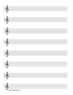 Printable paper website carries free printables including for Music manuscript template