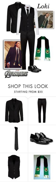 """Loki - Avengers"" by gone-girl ❤ liked on Polyvore featuring Disney, Bertoni, Maison Margiela, Versace, Prada, Dolce&Gabbana, men's fashion, menswear, Avengers and Loki"