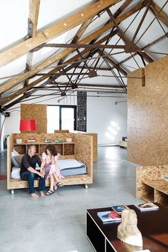 Everywhere you look in Carl Turner and Mary Martin's threshing barn, you can see oriented strand board (OSB), a m. Plywood Furniture, Furniture Design, Furniture Legs, Garden Furniture, Plywood Interior, Plywood Walls, Oriented Strand Board, Barn Bedrooms, Interior Decorating