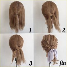Easy way to add a low ponytail with a scarf cute texture - Frisuren - Hair Length Pretty Hairstyles, Easy Hairstyles, Updos Hairstyle, Hairstyle Ideas, Hairstyles For Medium Length Hair Tutorial, Barbie Hairstyle, Fringe Hairstyle, Bangs Hairstyle, Layered Hairstyles