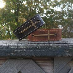 Leather Cross Bracelet for men or women / Stocking by CJWPARACORD