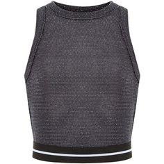 New Look Teens Dark Grey Stripe Trim Crop Top (605 DOP) ❤ liked on Polyvore featuring tops, charcoal and crop top