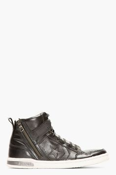 2bbeb5199781 CONVERSE BY JOHN VARVATOS Black Leather Zippered Weapon High-Top High Tops  For Men