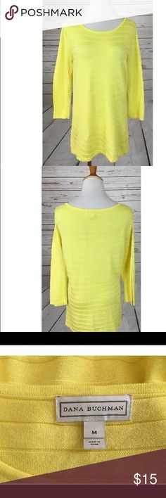 Dana Buchman Yellow Striped Sweater sz M Very good condition. Measures about 18 inches across the chest and 28 inches in length Dana Buchman Sweaters