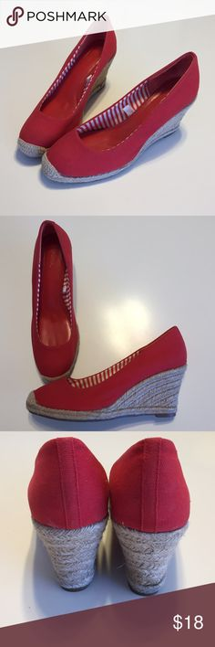 Red canvas wedges Really cute and comfy for a day of shopping or wandering around beach boutiques. Red canvas with wicket soles PERFECT for summer! Merona Shoes Wedges