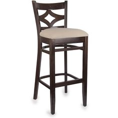 A soft cream microfiber seat and diamond back design highlight this bar stool. This stool features a walnut finish.