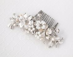 Bridal Hair Piece of Porcelain Flowers and Pearls from Cassandra Lynne
