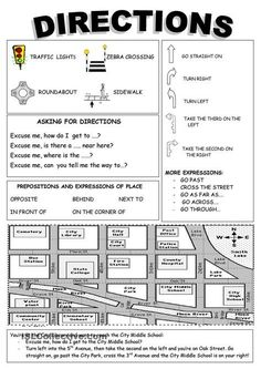 DIRECTIONS | FREE ESL worksheets Repinned by Chesapeake College Adult Ed. We offer free classes on the Eastern Shore of MD to help you earn your GED - H.S. Diploma or Learn English (ESL). www.Chesapeake.edu