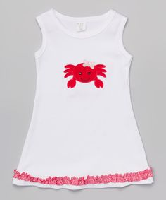 Look what I found on #zulily! White Crab Dress - Toddler & Girls by HH & Me #zulilyfinds