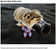 Beer bottle holder made from real road kill