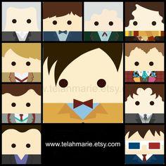 Doctor Who inspired Magnet set, Matt Smith, David Tennant, magnets