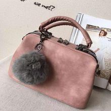 2015 Fashion Fur Ball High Quality Leather Vintage Doctor Bag Shoulder Handbags Women Messenger Bag Small Tote Bag L942(China (Mainland))