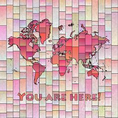 World Map Glasa Square with 'You Are Here' text in Pink And Yellow by elevencorners. World map wall print decor. #elevencorners #mapglasa
