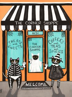 The Corner Shop on Halloween  Original Cat Folk by KilkennycatArt