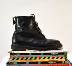 Amazing 90s Black Dr. Martens Boots Size 10 1/2 by Hookedonhoney
