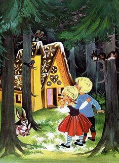 Hansel and Gretel by Felicitas Kuhn Hansel Y Gretel, Storybook Cottage, Cute Fairy, Grimm Fairy Tales, Disney Fairies, Fairytale Art, Magical Christmas, Naive Art, Children's Book Illustration