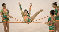 razil's gymnast team perform during the rhythmic gymnastics group all-around qualifications - Beijing Olympics 2008