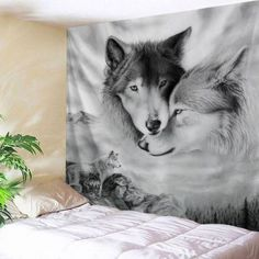 Wolf Printed Wall Hanging Home Decor Tapestry Space Tapestry, Tapestry Wall Hanging, Blanket On Wall, Wolf Husky, Wolf Pictures, Cool Walls, Picture Wall, Wall Prints, At Least