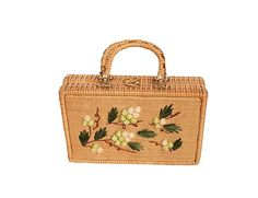 Fun and stylish structured box handbag.  Natural wicker base with puffed straw floral pattern on the front in green, white and brown.  Brass