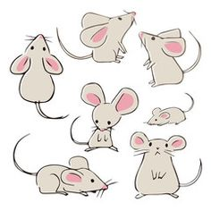 Find Cute Handdrawn Mice Different Poses On stock images in HD and millions of other royalty-free stock photos, illustrations and vectors in the Shutterstock collection. Art Drawings Sketches, Easy Drawings, Cat Drawing, Painting & Drawing, Maus Illustration, Elephant Illustration, Space Illustration, Landscape Illustration, Food Illustrations