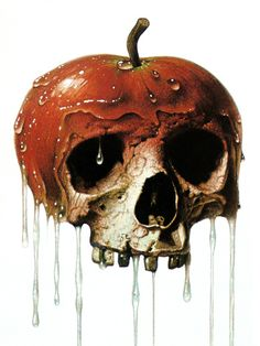 bad apple…kinda reminds me of Snow White and the poisoned apple Memento Mori, Bad Apple Tattoo, Apple Art, Desenho Tattoo, Skull Tattoos, Art Tattoos, Tatoos, Skull And Bones, Skull Art