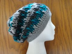 Crochet Slouchy Beanie Teal Gray Charcoal by kathyscrochetcloset