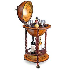 Wood Globe Drink Cabinet Wine Bar Minibar Beverage Stand Bottle Trolley  Italian