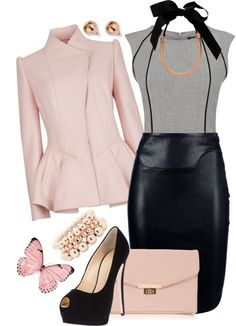 """""""Pretty in Leather"""" by jadesa ❤ liked on Polyvore"""