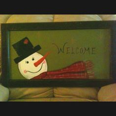 My painted snowman welcome sign on cabinet door. Diy Cabinet Doors, Diy Cabinets, Painted Snowman, Craft Night, Snowmen, Holiday Ideas, Picture Frames, Repurposed