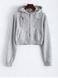 Zipper Cropped Hoodie
