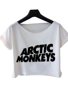 Arctic Monkeys Tour 2014 USA Band Logo White Crop Tee Fits for M/L