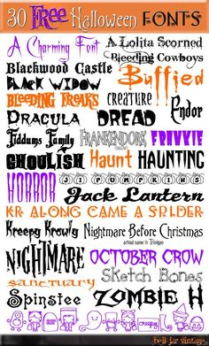 Under The Table and Dreaming: Creative Reader Projects No. 174: Halloween free fonts