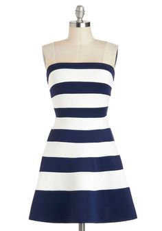 A Starboard is Born Dress - Short, Blue, White, Stripes, Party, Fit & Flare, Strapless, Nautical $50. i frigging LOVE this dres!! W/ a cute small white blazer? ugh. want it now!!