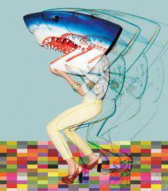 Pop style shark woman #gif #animated #animation
