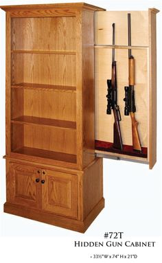 American Winchester Bookcase with Hidden Gun Cabinet Hidden Gun Safe, Hidden Gun Storage, Secret Storage, Hidden Spaces, Hidden Rooms, Woodworking Crafts, Woodworking Plans, Hidden Gun Cabinets, Hidden Cabinet