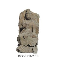 "Chinese Antique Stone Carving Sitting Kwan Yin Garden Statue WK2445    This is a Chinese antique sitting Kwan Yin statue which is made of solid stone. Look at the peaceful face and sitting on lotus position, it is perfect to put at your entrance of hall way, or decorate your garden.   Dimensions:   13""Wx11""Dx28""H   Material:         Stone"