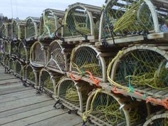 Lobster Traps lined up on the wharf Lobster Trap, Atlantic Canada, O Canada, Newfoundland And Labrador, Prince Edward Island, New Brunswick, Great Friends, Ocean Beach, Nova Scotia